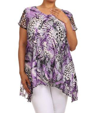 Seven Karat Purple Jungle Sidetail Top - Plus