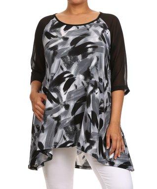 Seven Karat Black & White Abstract Sleeveless Top - Plus