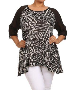 Seven Karat Black & White Asymmetrical Scoop Neck Top - Plus