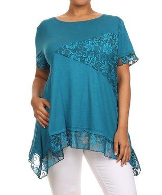 Seven Karat Blue & Green Geometric Sidetail Tunic - Plus