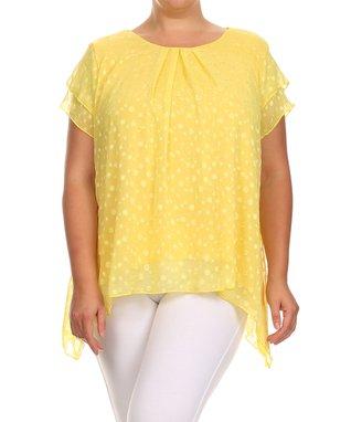 Seven Karat Yellow Abstract Overlay Sidetail Tunic - Plus