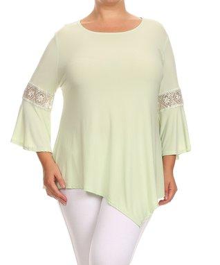 Seven Karat Green Lace-Trim Asymmetrical Tunic - Plus
