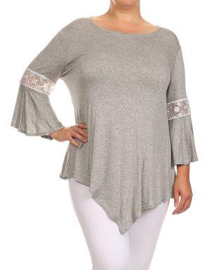 Seven Karat Gray Lace-Trim Asymmetrical Tunic - Plus
