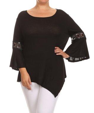Seven Karat Black Lace-Trim Asymmetrical Tunic - Plus
