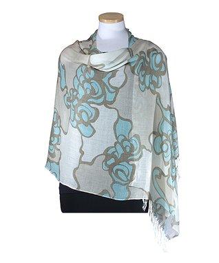 Van Klee Imports Terracotta Floral Shawl
