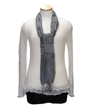 Van Klee Imports Teal Silk-Linen Blend Scarf
