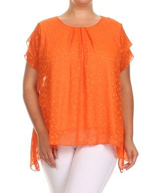 Seven Karat Orange Abstract Overlay Sidetail Tunic - Plus