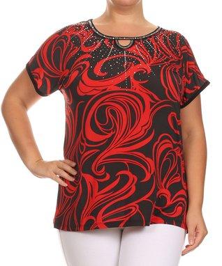 Seven Karat Taupe Swirl Stripe Handkerchief Tunic - Plus