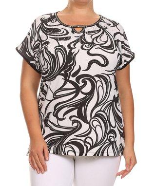 Seven Karat Coral Lace Cap-Sleeve Top - Plus