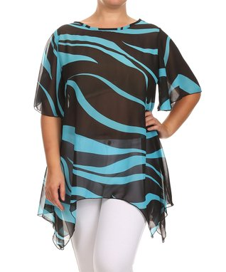 Seven Karat Aqua Swirl Stripe Handkerchief Tunic - Plus