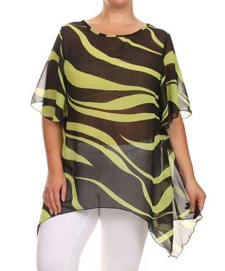 Seven Karat Fuchsia Swirl Stripe Handkerchief Tunic - Plus