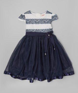 Navy Stripe Cap-Sleeve Dress - Toddler & Girls