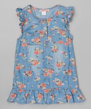 Denim Floral Ruffle Dress - Toddler
