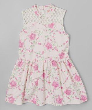 Blue Lace Yoke Swing Dress - Toddler & Girls