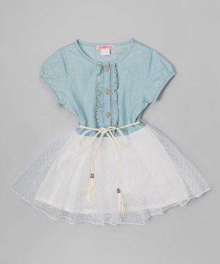 Denim Ruffle Overlay Dress - Toddler & Girls