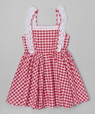Red Plaid Eyelet Dress - Toddler & Girls