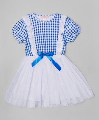 Blue Plaid Eyelet Puff-Sleeve Dress - Toddler & Girls