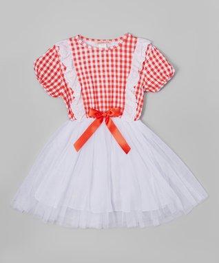 Orange Ruched Shift Dress - Toddler & Girls