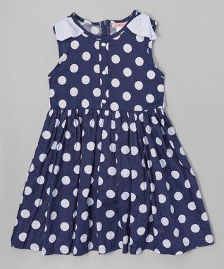 Navy Polka Dot Dress - Toddler & Girls