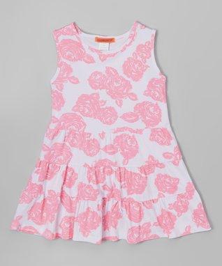 Pink Floral Overlay Dress - Toddler & Girls