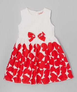 Red Floral Belted Dress - Toddler & Girls