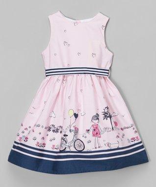 Blue Chevron Puff-Sleeve Swing Dress - Toddler & Girls