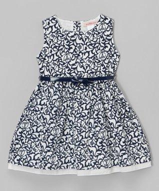 Navy Floral Belted Dress - Toddler & Girls
