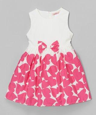 White & Hot Pink Heart Sleeveless Dress - Toddler & Girls