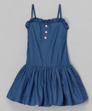 Dark Denim Drop-Waist Dress - Toddler & Girls