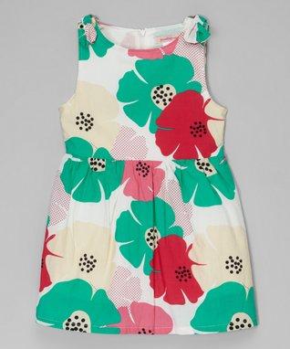 Green & Pink Floral Sleeveless Dress - Toddler & Girls