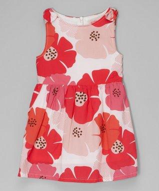 Red & Pink Floral Sleeveless Dress - Toddler & Girls