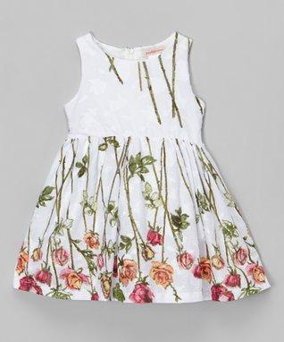 White & Green Rose Sleeveless Dress - Toddler & Girls