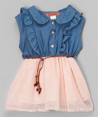 Pink & Denim Cat Dress - Toddler & Girls