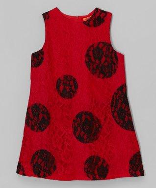 Red & Black Polka Dot Lace Shift Dress - Toddler & Girls