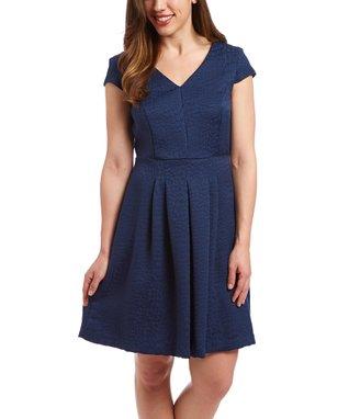 Shelby & Palmer Indigo Blue Cap-Sleeve Dress