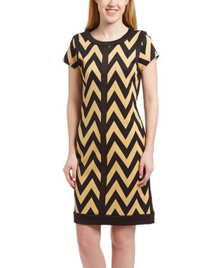 Shelby & Palmer Black & White Stripe Belted Cap-Sleeve Dress - Women