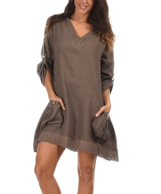 Taupe Lace Trim V-Neck Dress