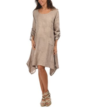 Taupe Scoop Neck Sidetail Dress