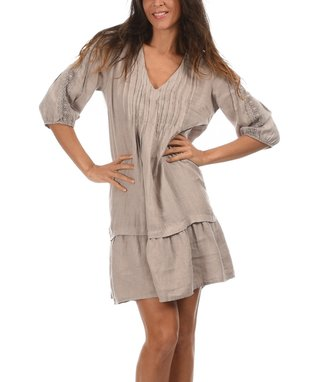 Beige Pleated V-Neck Ruffle Dress