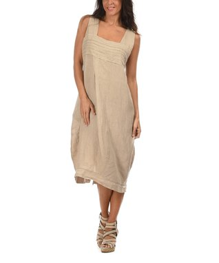 Beige Square Neck Midi Dress