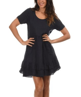 Navy Blue Ruffle Scoop Neck Dress