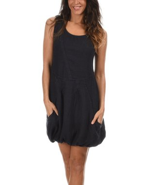 Navy Blue Split-Hem Button-Front Tunic & Tee