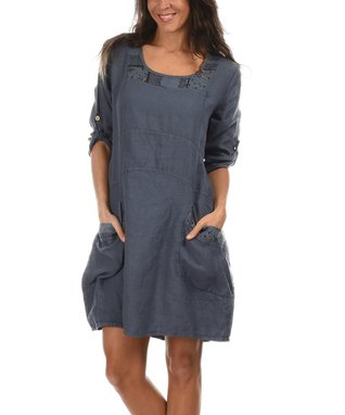 Blue Roll-Tab Scoop Neck Dress