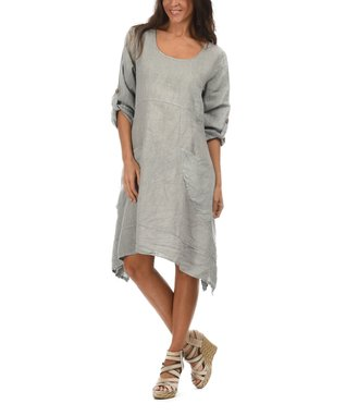 Gray Scoop Neck Sidetail Dress