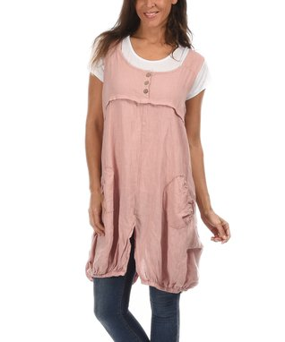 Light Pink Split-Hem Button-Front Tunic & Tee