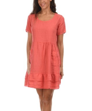 Coral Ruffle Scoop Neck Dress