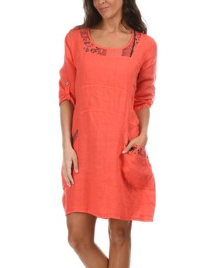 Coral Roll-Tab Scoop Neck Dress