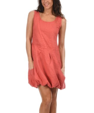Coral Scoop Neck Bubble Dress