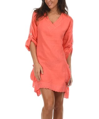 Coral Lace Trim V-Neck Dress
