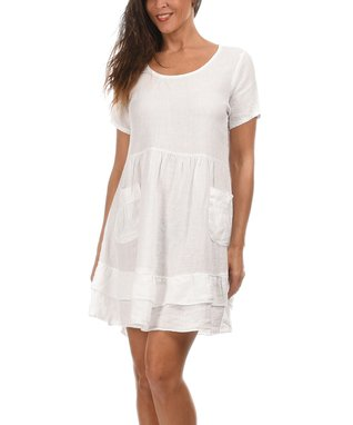 White Scoop Neck Sidetail Dress